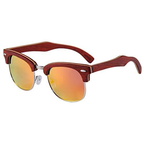 Al sol Brown bambú de Marco Aire Medio de Gafas de de UV Gafas Protección Hombres Gafas Red Y Color de Bambú con Madera Conducción Libre Metal Lente Polarizadas de v4nw8d