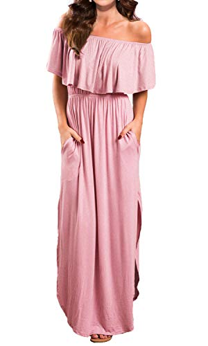 VERABENDI Women's Off Shoulder Summer Casual Long Ruffle Beach Maxi Dress with Pockets X-Large Pink