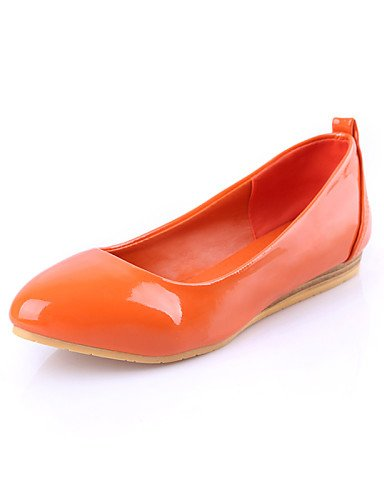 PDX/ Damenschuhe - Ballerinas - Lässig - Kunstleder - Flacher Absatz - Spitzschuh - Schwarz / Blau / Orange / Mandelfarben , orange-us5 / eu35 / uk3 / cn34 , orange-us5 / eu35 / uk3 / cn34