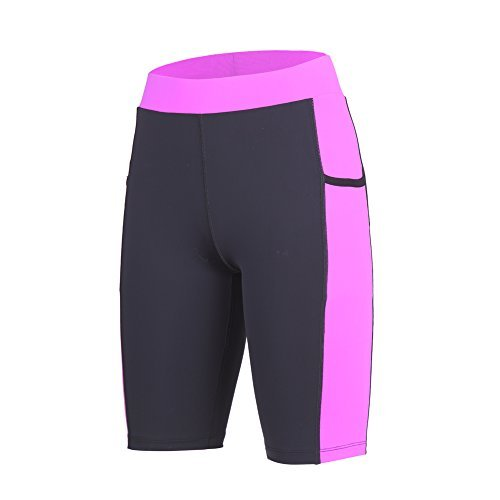 beroy Yoga Short Pants With Two Pockets,Running Workout Pants For Women (L,Purple) (Phone Shorts Work Pocket)