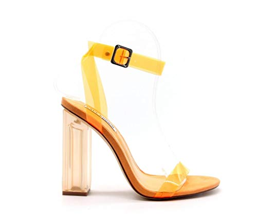 Cape Robbin Maria-2 Women's Lucite Clear Strappy Block Chunky High Heel Open Peep Toe Sandal, Transparent, Orange, 7 -