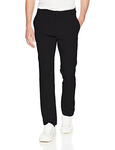 Perry Ellis Men's Slim Fit Solid Tech Pant, Black, 32W X 30L (Mens Traveler Pant)
