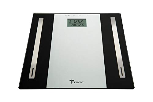 Detecto Glass LCD Digital Body Composition Scale, Black