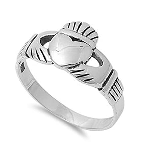 11MM Men's Royal Claddagh Irish Wide Sterling Silver Ring-SIZE 7-15