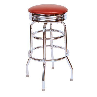Richardson Seating Retro 1950s 30'' Chrome Swivel Bar Stool with Wine Seat