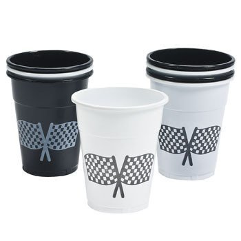 Fun Express Disposable Plastic Cups With Checkered Flag Design - Tableware & Party Cups,Black, White