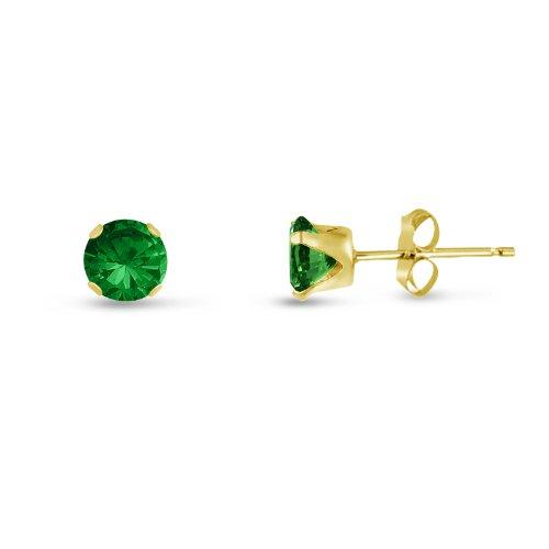 Kezef Boucles d'oreilles clous rondes très petites (2mm) en argent plaqué or jaune avec zircone cubique émeraude verte Pour bébé