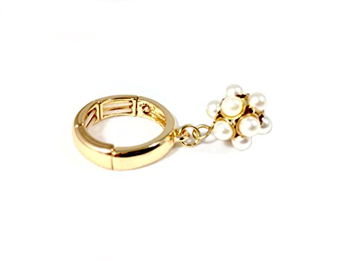 - Faux Pearl and Gold Cluster Adjustable Stretch Ring