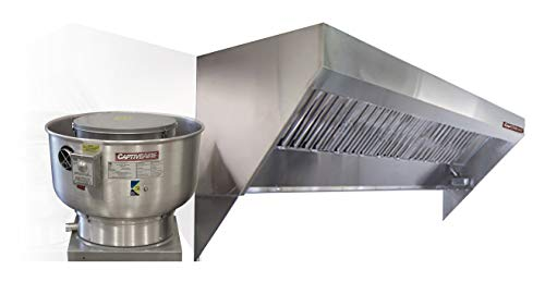 (Mobile Kitchen Low Profile Exhaust Hood System Includes a stainless steel exhaust hood, an exhaust fan, an adjustable duct section, and installation hardware (8' Long Hood & Fan))
