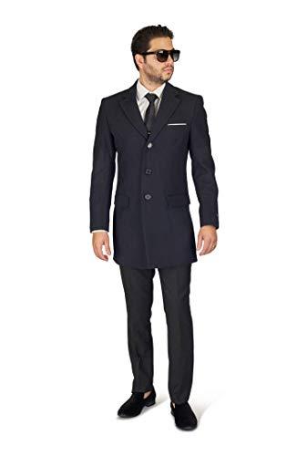 Azar Slim Fit Mens Wool Blend Top Overcoat Single Breast Notch Lapel (Medium (38/40 Chest), Solid Navy Blue)