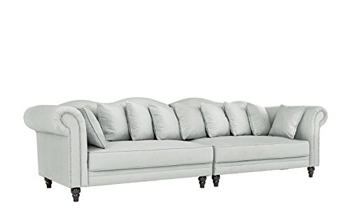 Classic Linen Chesterfield Scroll Arm Large Living Room Sofa (Light Grey)