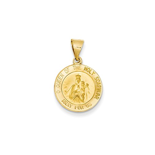 ICE CARATS 14kt Yellow Gold Queen Of The Holy Scapular Reversible Medal Pendant Charm Necklace Religious Fine Jewelry Ideal Gifts For Women Gift Set From Heart (14kt Gold Reversible Pendant)