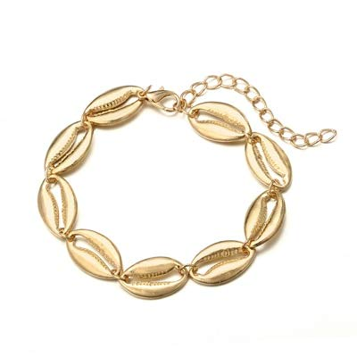 690d764d85a3 Amazon.com  Haga Anklet Bracelet Gold Silver Color Shell Anklet for Women  Girl Metal Beach Shell Charm anklets Bracelet Foot Jewelry pulseras Gold   Home   ...
