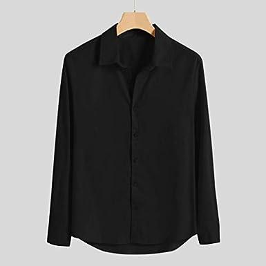 Camicie in Cotone e Lino Camicia in Cotone Mezza Manica con Scollo a V in Tinta Unita Cascante T Shirt Camicie Elegante Estiva Tinta Unita Pulsante Tee