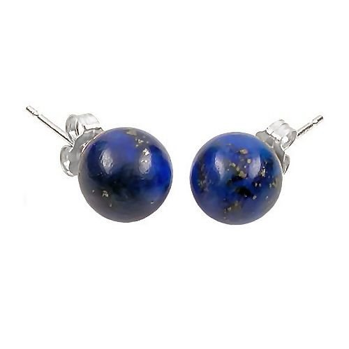 Trustmark 925 Sterling Silver 8mm Natural Blue Lapis Lazuli Ball Stud Post Earrings
