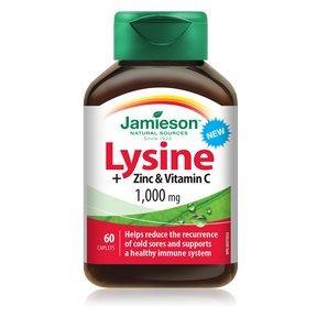 Jamieson Lysine + Zinc & Vitamin C 1000mg, 60 caplets