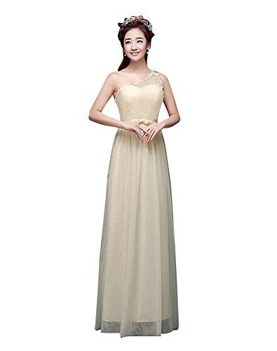 Beauty-Emily diseño de dama de tul vestido de fiesta de boda Beige-A