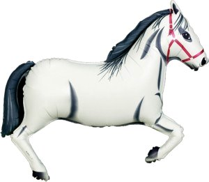 Balloon Sold Single (White Horse Supershape Foil)