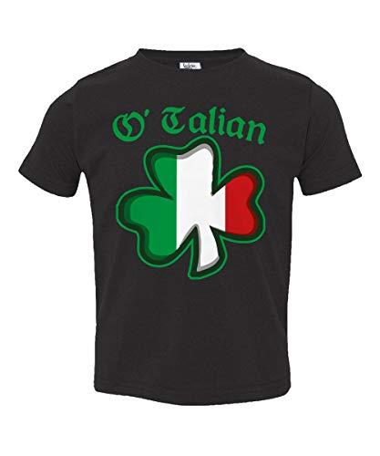 (Societee O'Talian Italian Irish Shamrock Little Kids Girls Boys Toddler T-Shirt (Black,)