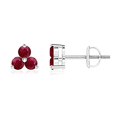 Angara Natural Ruby Gemstone Studs for Her in 14k White Gold 3dLoQql