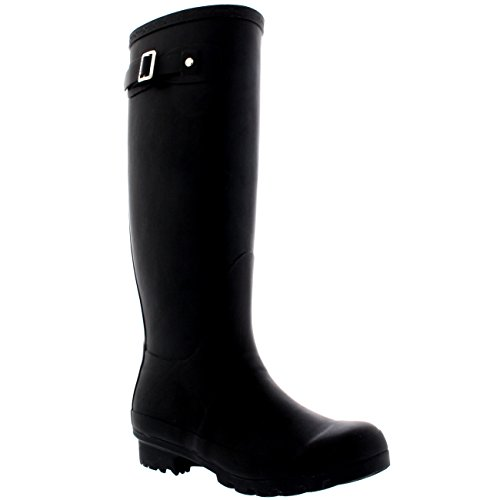 Womens Original Tall Snow Winter Waterproof Rain Wellies Wellington Boots - Black - 12 - BLA43 ZCD0001