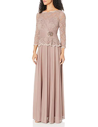 Cachet Women's Faux 2 Piece Lace Gown, Mocha, 8