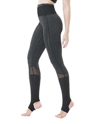 Feeker Women's High Waist Yoga Capri Pants, Black Cotton Mesh Workout Capri Leggings, Tights for Gym, Running, Yoga