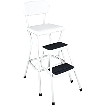 Cosco White Retro Counter Chair Step Stool With Pull Out