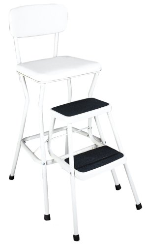 Cosco White Retro Counter Chair / Step Stool with Pull-out Steps, White