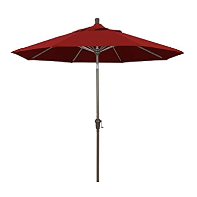 California Umbrella 9' Round Aluminum Market Umbrella, Crank Lift, Auto Tilt, Champagne Pole, Sunbrella Jockey Red - Overall dimensions: 102-inch h by 108-inch l by 108-inch w Deluxe crank lift with auto crank tilt high durability resin housing and hub 8 heavy duty aluminum ribs with quality sunbrella fabric - shades-parasols, patio-furniture, patio - 31AlkOCoYUL. SS400  -