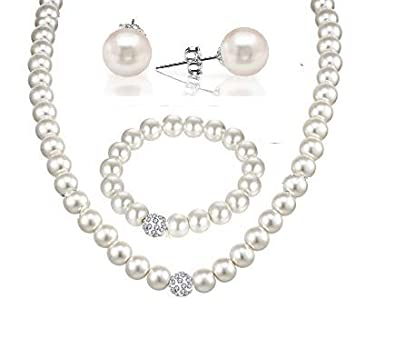 2592dd1b3ae Buy STRIPES White Pearl Necklace Set with Bracelet for Women Online at Low  Prices in India