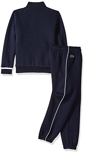 Lacoste Little Boys' Fleece Track Suit W/Chest Stripe-Shirt, Navy Blue/Etna Red/White, 8 by Lacoste (Image #2)