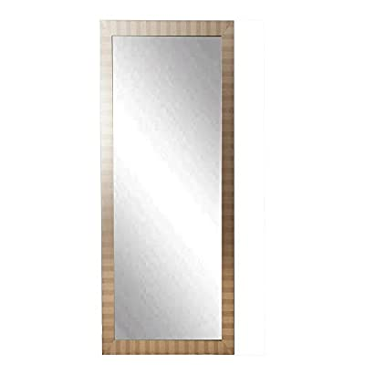 Modern Manhattan Full Length Dressing Leaning Floor Vanity Wall Mirror - Choose from available sizes 3-in. frame made from wood composite Framed in striped silver and bronze - mirrors-bedroom-decor, bedroom-decor, bedroom - 31Alnan9PgL. SS400  -