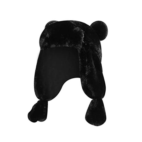 Crytech Toddler Kids Winter Trapper Ski Hat, Warm Chunky Faux Fur Russian Ushanka Trooper Cap with Ear Flap Plush Furry Aviator Snow Hat with Earflap for Little Girl Boy Skiing Skating (Black)
