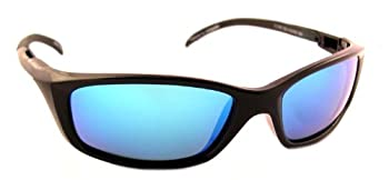 Sea Striker Sea Raven Polarized Sunglasses With Black Frame,blue Mirror & Grey Polarised Lens (Fits Medium To Large Faces) 0