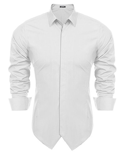 Coofandy Men's Long Sleeve Slim Fit Spread Collar Poplin Tuxedo Shirt (Front Tuxedo Shirt)