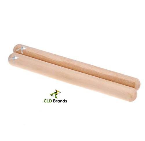 Classic Hardwood Claves Percussion Instrument - Rhythm Sticks Perfect for the Young Musicians - Bonus Carry Bag - 8