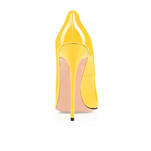 Eldof Womens High Heel Pumps Round Toe Stilettoes 4.7 Sky High Heels Party Dress Pumps Yellow nvEPOlkQPr