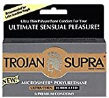 72 Trojan Supra Non Latex Condoms, 12 Retail Boxes of 6, Microsheer Polyurethane for Those Allergic to Latex
