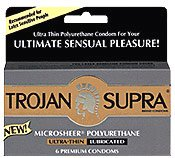 72 Trojan Supra Non Latex Condoms, 12 Retail Boxes of 6, Microsheer Polyurethane for Those Allergic to Latex by CondomMan