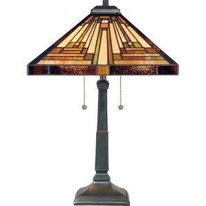 Quoizel TF885T Stephen Tiffany Table Lamp Lighting, 2-Light, 150 Watts, Vintage Bronze (23