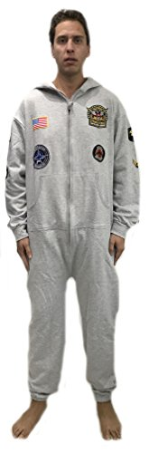Flight Gun Mens Top Suit (6454-GRY-XXL #FollowMe Jumpsuit / Adult Onesie with Patches /)