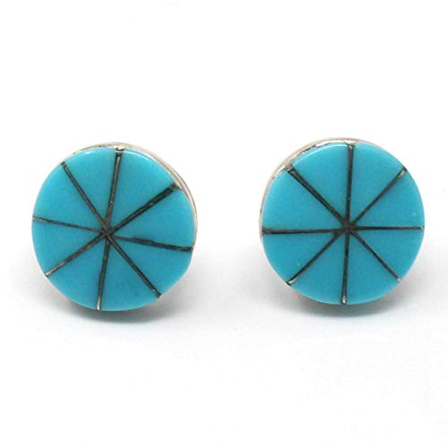 Round Zuni Turquoise Inlay Stud Earrings by Laweeka | 7/16