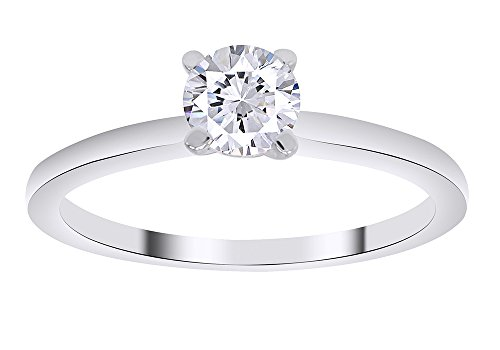 14k Round Solitaire White Gold Engagement Ring (H-I Color, I1 Clarity) IGI Certified Ring Size-5