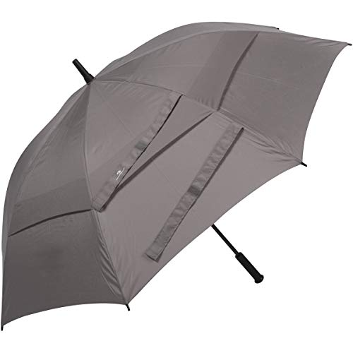 Procella Golf Umbrella Windproof Waterproof - 62 Inch Large Automatic Open Rain & Wind Resistant Vented Double Canopy - Best Golf-Sized Stick Umbrellas for Men and Women (Grey)