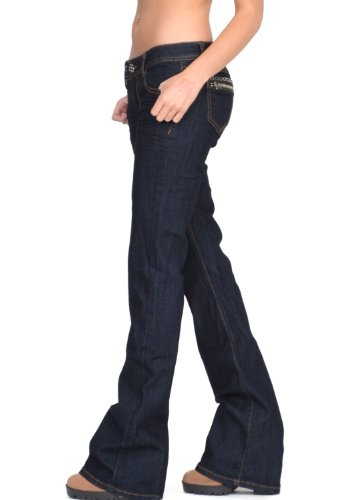 Cindy.H Women's 60s 70s Style Bootcut Flared Hipster Stretch Jeans - Dark Wash Indigo (US 4 / UK 6)