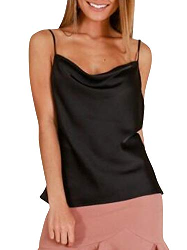 Miessial Women's Spaghetti Straps V Neck Satin Camisole Sleeveless Soft Tank Tops Black ()
