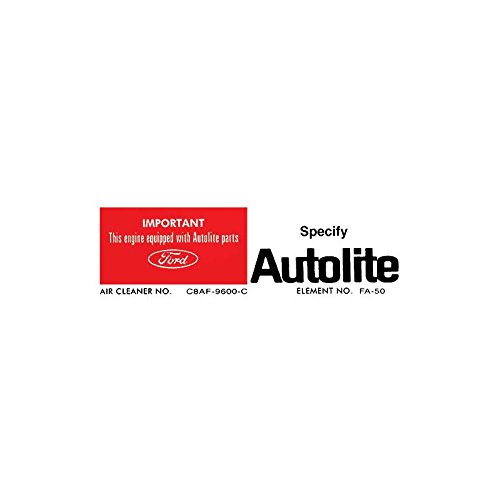 MACs Auto Parts 60-46915 Air Cleaner Side Decal - Autolite Replacement Parts - 302 V8 -