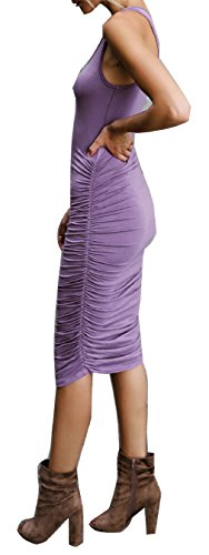 Midi Neck Dress Purple Bodycon Casual Dresses Sleeveless Racerback Umeko Ruched Scoop Womens Tank Aw4Yqt