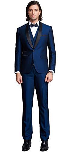 Botong Blue Shawl Lapel Men Suits 3 Pieces Wedding Suits for Men Groom Tuxedos Blue 36 chest / 30 waist